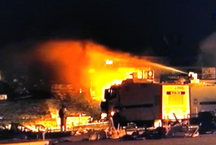 Gezi Parkında Yangın Çıktı